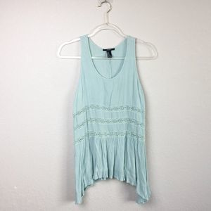• FOREVER 21 • Light Blue Lace Tank Sz M